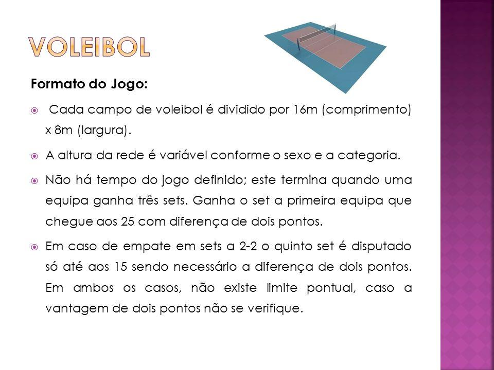 Formato do Jogo:  Cada campo de voleibol é dividido por 16m (comprimento) x 8m (largura).