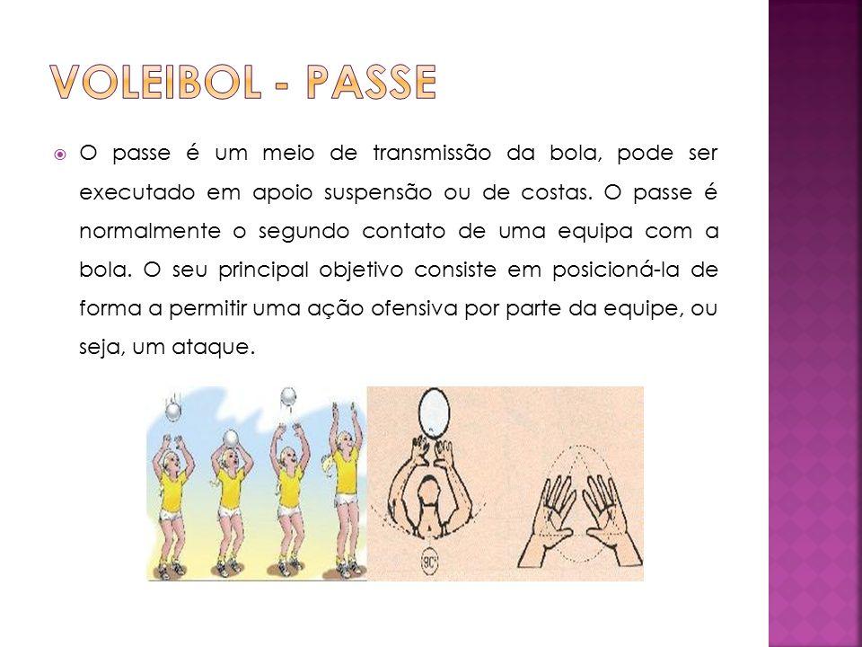  O passe é um meio de transmissão da bola, pode ser executado em apoio suspensão ou de costas.