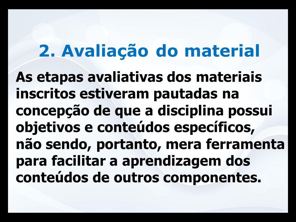 2. Avaliação do material As etapas avaliativas dos materiais inscritos estiveram pautadas na concepção de que a disciplina possui objetivos e conteúdo