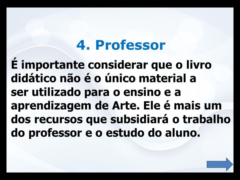 4. Professor É importante considerar que o livro didático não é o único material a ser utilizado para o ensino e a aprendizagem de Arte. Ele é mais um