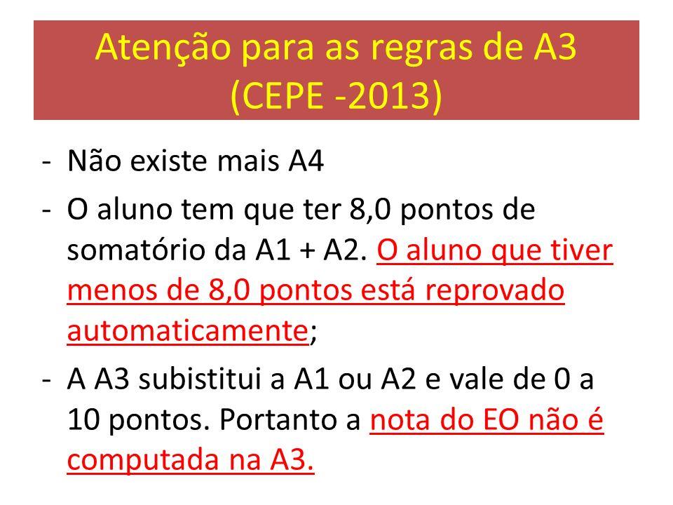 Atenção para as regras de A3 (CEPE -2013) -Não existe mais A4 -O aluno tem que ter 8,0 pontos de somatório da A1 + A2. O aluno que tiver menos de 8,0
