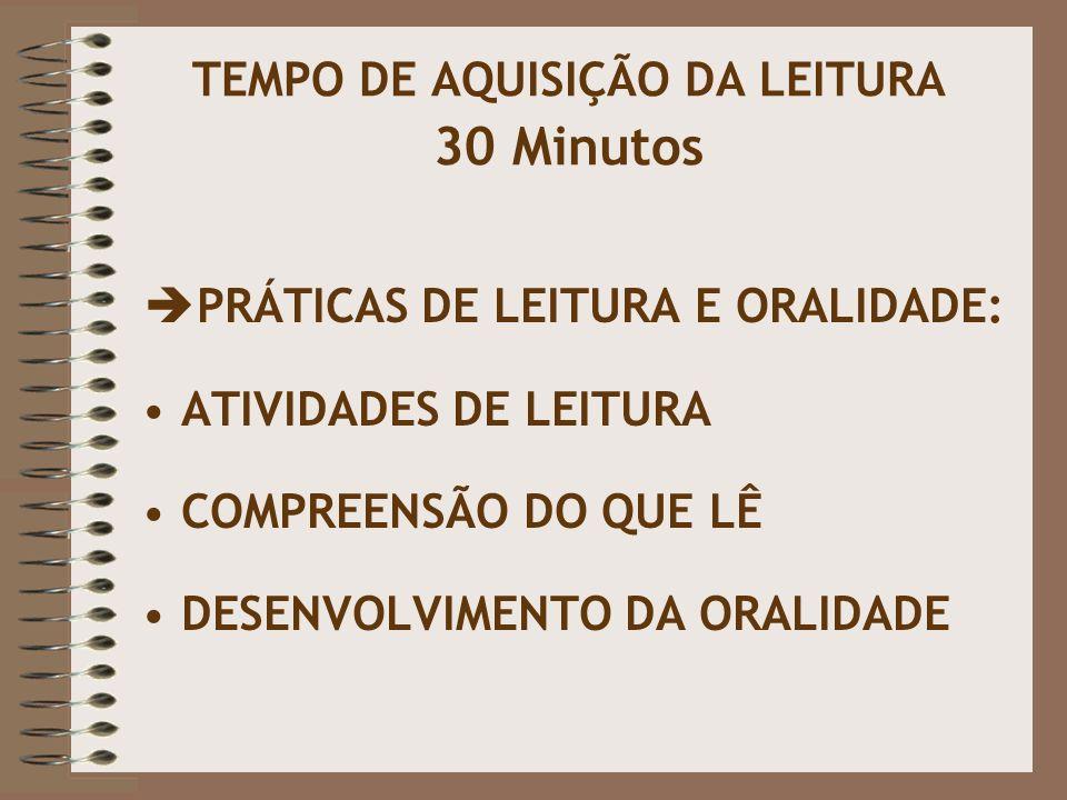 TEMPO DE AQUISIÇÃO DA LEITURA 30 Minutos  PRÁTICAS DE LEITURA E ORALIDADE: ATIVIDADES DE LEITURA COMPREENSÃO DO QUE LÊ DESENVOLVIMENTO DA ORALIDADE