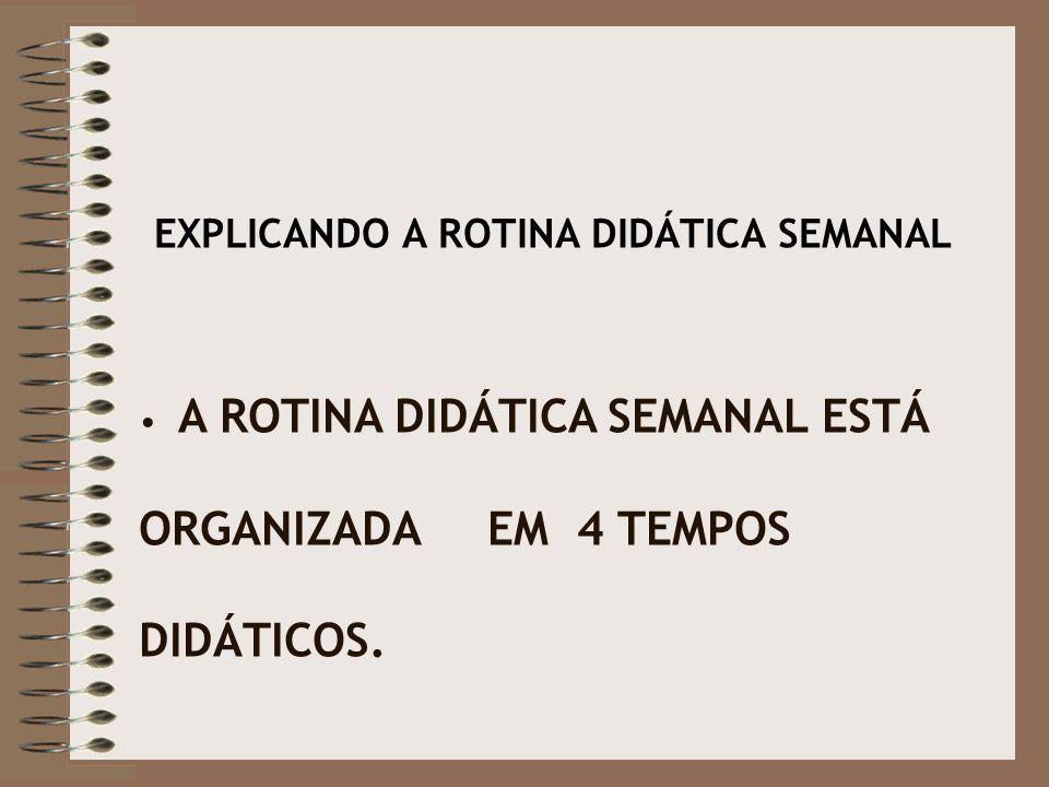 EXPLICANDO A ROTINA DIDÁTICA SEMANAL A ROTINA DIDÁTICA SEMANAL ESTÁ ORGANIZADA EM 4 TEMPOS DIDÁTICOS.