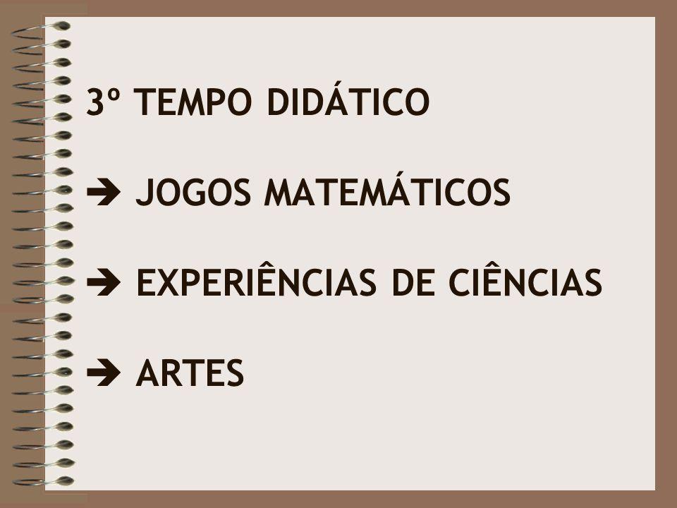3º TEMPO DIDÁTICO  JOGOS MATEMÁTICOS  EXPERIÊNCIAS DE CIÊNCIAS  ARTES