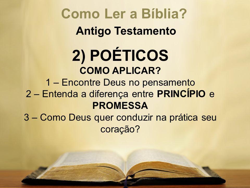 Como Ler a Bíblia? Antigo Testamento 2) POÉTICOS COMO APLICAR? 1 – Encontre Deus no pensamento 2 – Entenda a diferença entre PRINCÍPIO e PROMESSA 3 –