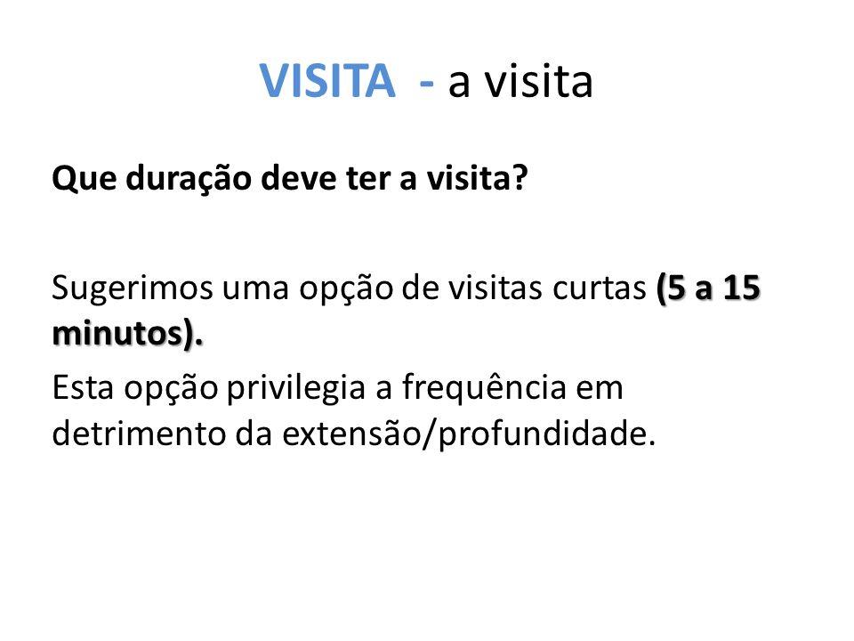 VISITA - a visita Que duração deve ter a visita. (5 a 15 minutos).
