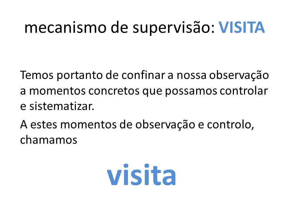 mecanismo de supervisão: VISITA Temos portanto de confinar a nossa observação a momentos concretos que possamos controlar e sistematizar.