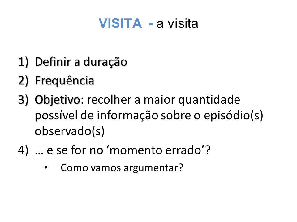 VISITA - a visita 1)Definir a duração 2)Frequência 3)Objetivo 3)Objetivo: recolher a maior quantidade possível de informação sobre o episódio(s) observado(s) 4)… e se for no 'momento errado'.