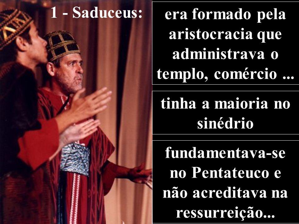 1 - Saduceus: era formado pela aristocracia que administrava o templo, comércio...
