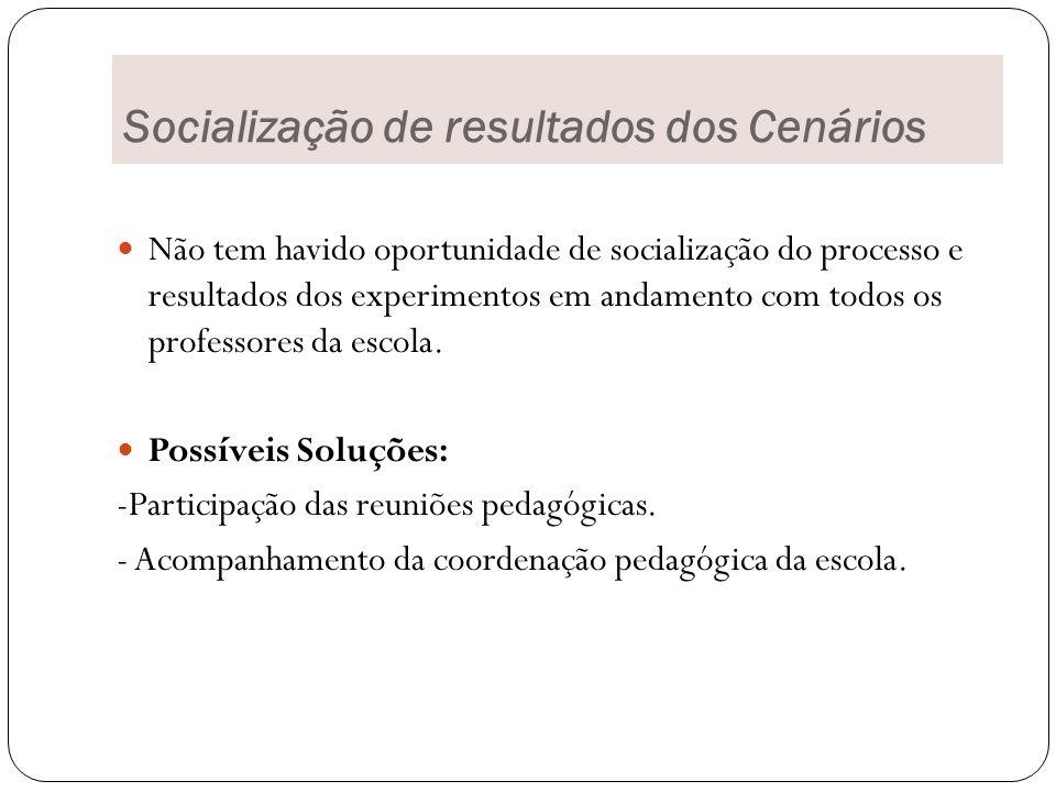 Socialização de resultados dos Cenários Não tem havido oportunidade de socialização do processo e resultados dos experimentos em andamento com todos os professores da escola.