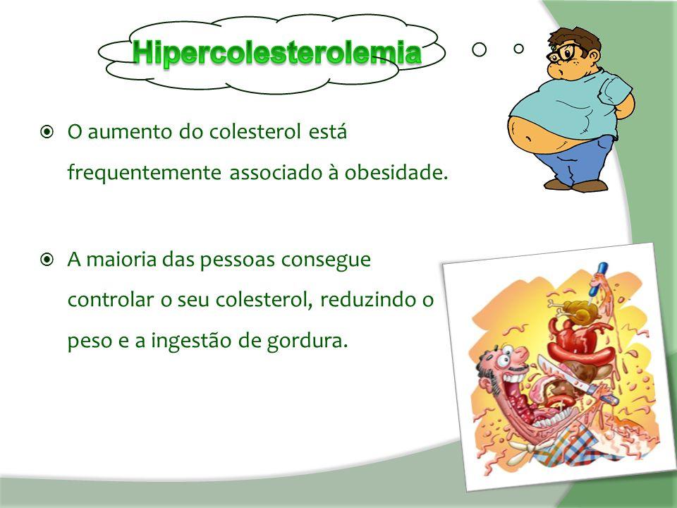  O aumento do colesterol está frequentemente associado à obesidade.
