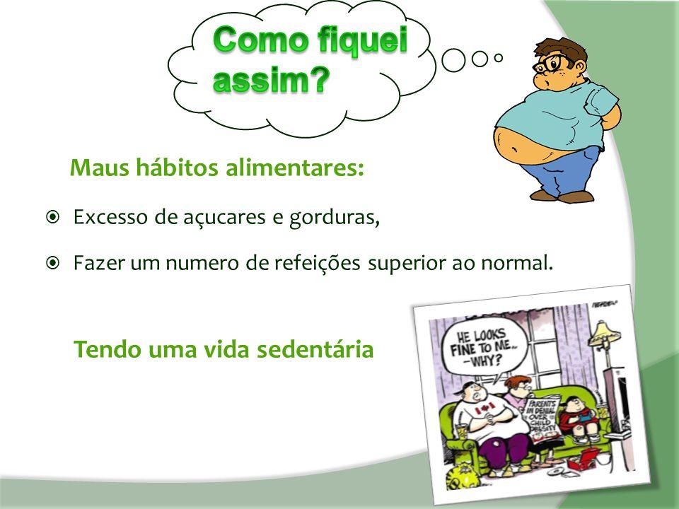 Maus hábitos alimentares:  Excesso de açucares e gorduras,  Fazer um numero de refeições superior ao normal.