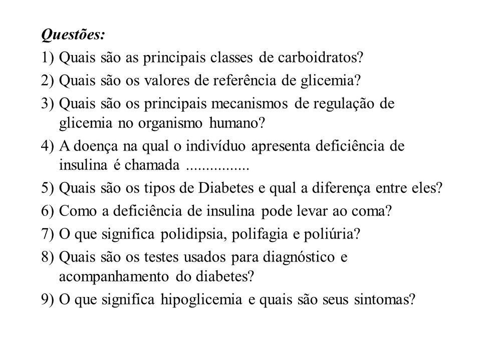 Questões: 1)Quais são as principais classes de carboidratos? 2)Quais são os valores de referência de glicemia? 3)Quais são os principais mecanismos de