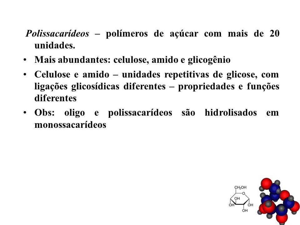 Polissacarídeos – polímeros de açúcar com mais de 20 unidades. Mais abundantes: celulose, amido e glicogênio Celulose e amido – unidades repetitivas d