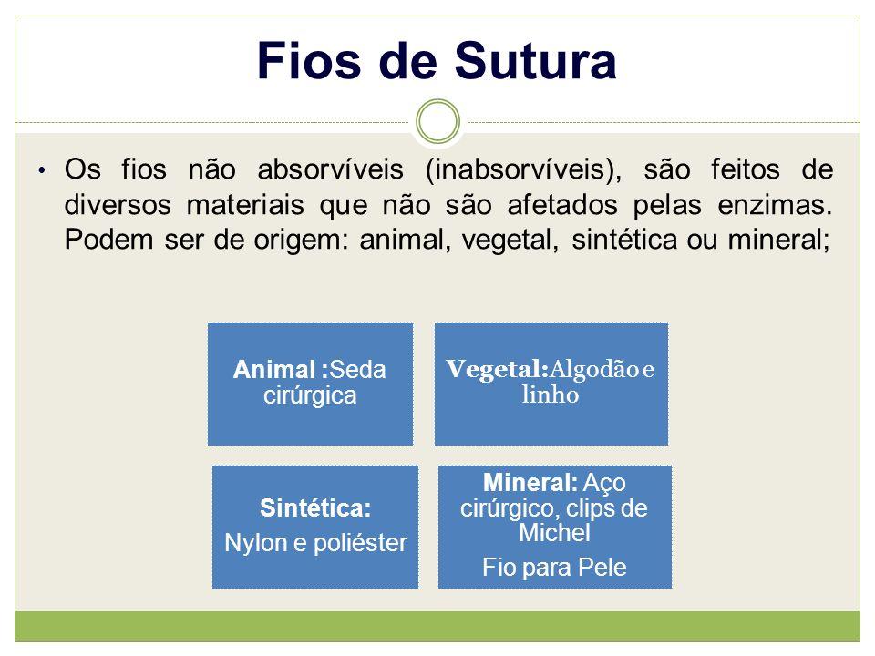 Fios de Sutura Os fios não absorvíveis (inabsorvíveis), são feitos de diversos materiais que não são afetados pelas enzimas.