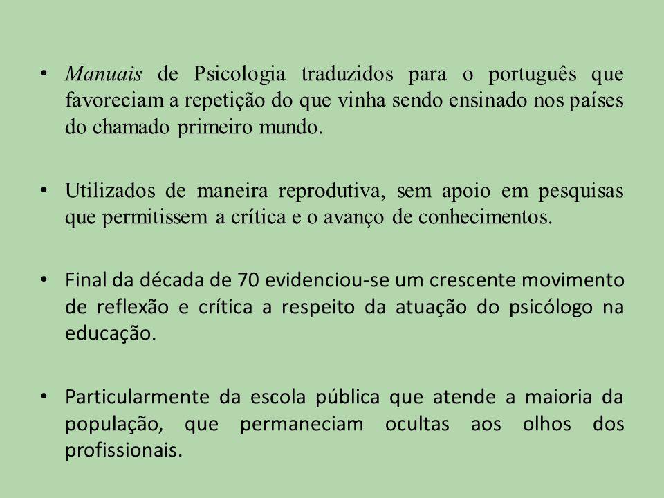 Manuais de Psicologia traduzidos para o português que favoreciam a repetição do que vinha sendo ensinado nos países do chamado primeiro mundo. Utiliza