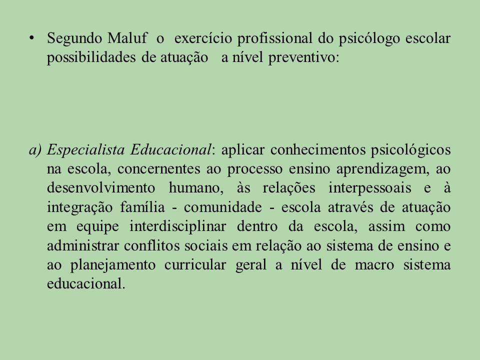 Segundo Maluf o exercício profissional do psicólogo escolar possibilidades de atuação a nível preventivo: a)Especialista Educacional: aplicar conhecim