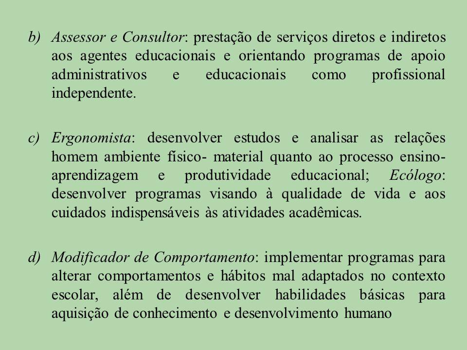 b)Assessor e Consultor: prestação de serviços diretos e indiretos aos agentes educacionais e orientando programas de apoio administrativos e educacion