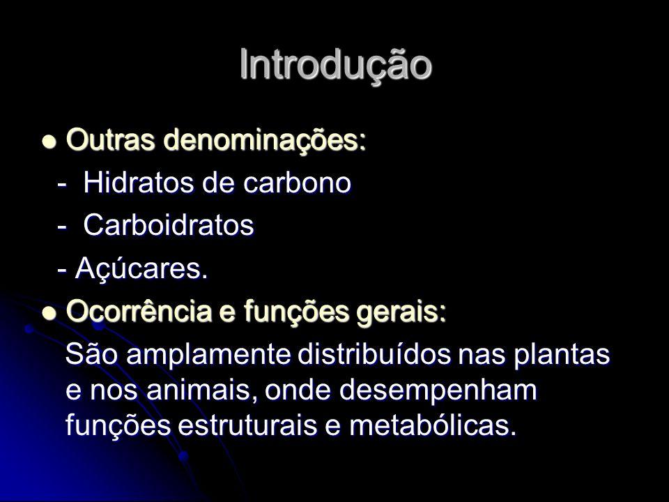 Introdução Outras denominações: Outras denominações: - Hidratos de carbono - Hidratos de carbono - Carboidratos - Carboidratos - Açúcares.