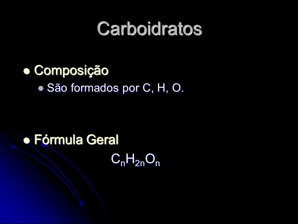 Classificação (quanto ao número de monômeros) Monossacarídeos Monossacarídeos Açúcares Fundamentais (não necessitam de qualquer alteração para serem absorvidos) Açúcares Fundamentais (não necessitam de qualquer alteração para serem absorvidos) Fórmula Geral: C n H 2n O n n≥ 3 Fórmula Geral: C n H 2n O n n≥ 3 Propriedades: Propriedades: solúveis em água e insolúveis em solventes orgânicos solúveis em água e insolúveis em solventes orgânicos brancos e cristalinos brancos e cristalinos maioria com saber doce maioria com saber doce estão ligados à produção energética.