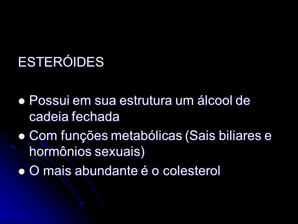 ESTERÓIDES Possui em sua estrutura um álcool de cadeia fechada Possui em sua estrutura um álcool de cadeia fechada Com funções metabólicas (Sais biliares e hormônios sexuais) Com funções metabólicas (Sais biliares e hormônios sexuais) O mais abundante é o colesterol O mais abundante é o colesterol