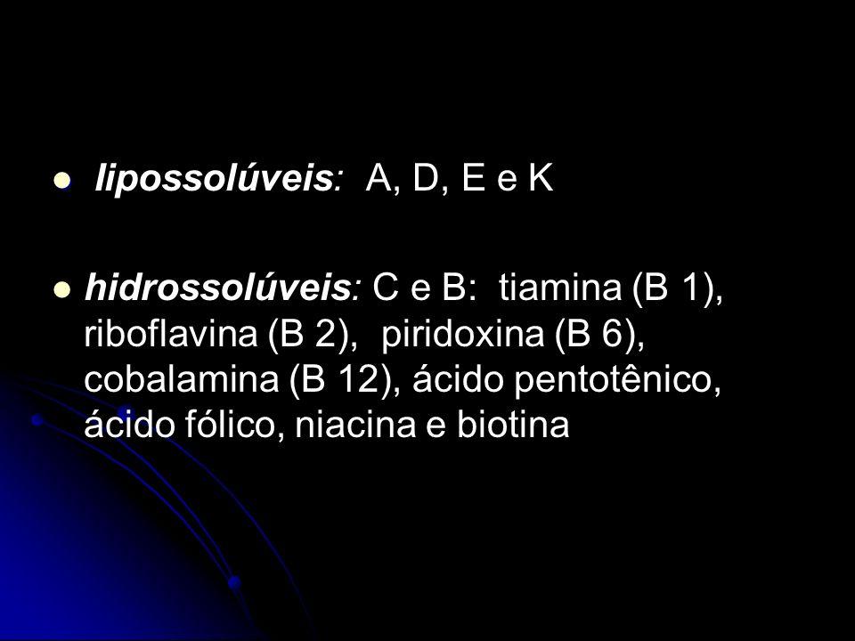 Iipossolúveis: A, D, E e K hidrossolúveis: C e B: tiamina (B 1), riboflavina (B 2), piridoxina (B 6), cobalamina (B 12), ácido pentotênico, ácido fólico, niacina e biotina