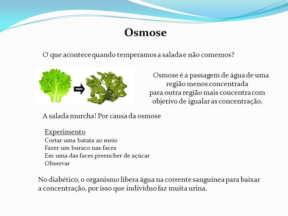 Osmose Osmose é a passagem de água de uma região menos concentrada para outra região mais concentra com objetivo de igualar as concentração. Experimen