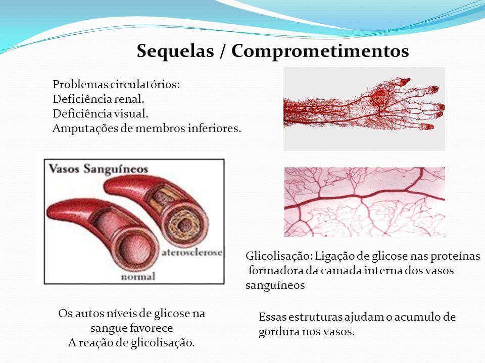 Sequelas / Comprometimentos Problemas circulatórios: Deficiência renal. Deficiência visual. Amputações de membros inferiores. Os autos níveis de glico