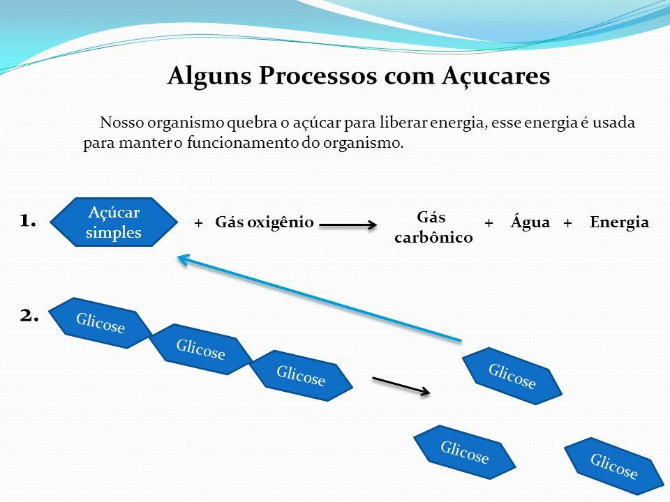 Alguns Processos com Açucares Açúcar simples +Gás oxigênio Gás carbônico +Água+Energia Glicose 1. 2. Nosso organismo quebra o açúcar para liberar ener