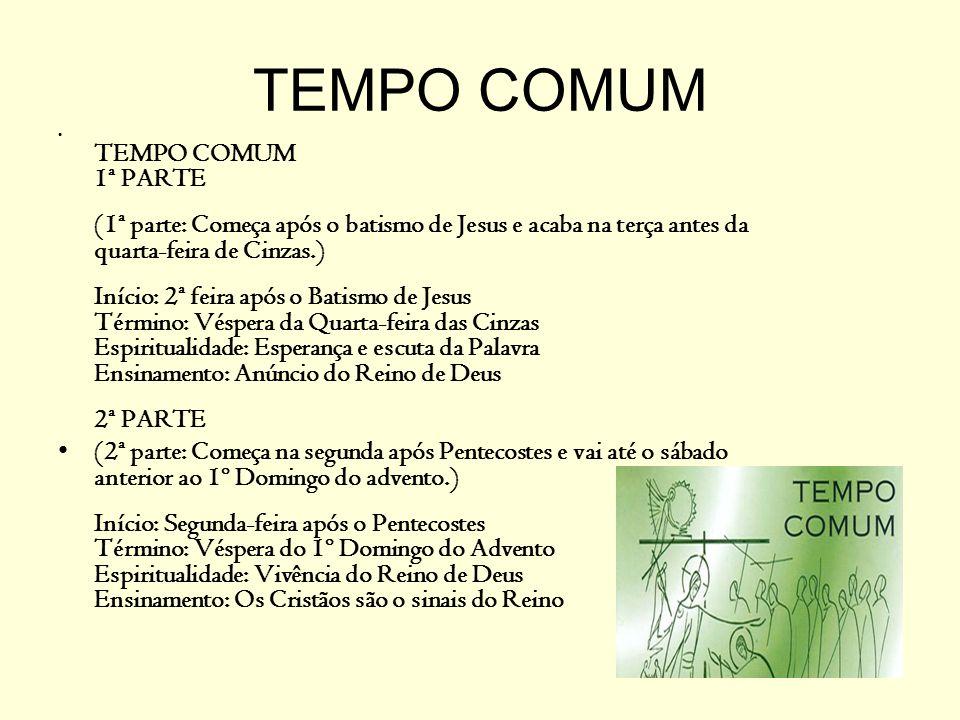 O TEMPO COMUM A Igreja estabeleceu, para o Rito romano, uma seqüência de leituras bíblicas que se repetem a cada três anos, nos domingos e nas solenidades.