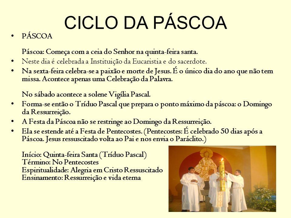 CICLO DA PÁSCOA PÁSCOA Páscoa: Começa com a ceia do Senhor na quinta-feira santa.