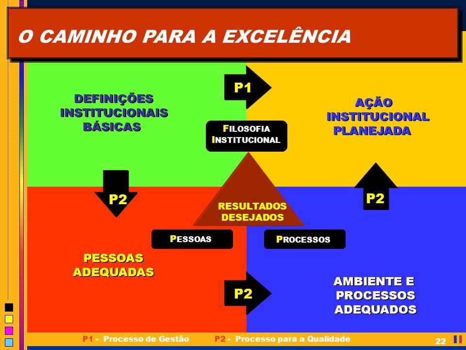 DEFINIÇÕES INSTITUCIONAIS BÁSICAS PESSOAS ADEQUADAS AMBIENTE E PROCESSOS ADEQUADOS AÇÃO INSTITUCIONAL PLANEJADA 22 RESULTADOS DESEJADOS F ILOSOFIA I NSTITUCIONAL F ILOSOFIA I NSTITUCIONAL P ROCESSOS P ESSOAS P2 P1 P2 P1 - Processo de GestãoP2 - Processo para a Qualidade O CAMINHO PARA A EXCELÊNCIA