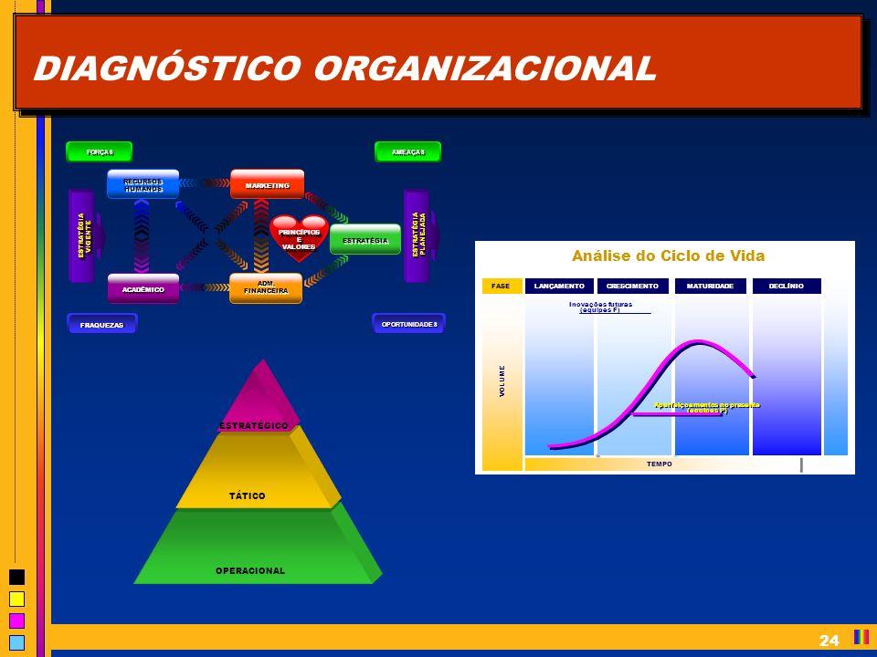 24 DIAGNÓSTICO ORGANIZACIONAL OPERACIONAL TÁTICO ESTRATÉGICO Análise do Ciclo de Vida TEMPO DECLÍNIO MATURIDADE CRESCIMENTO LANÇAMENTO VOLUME FASE Aperfeiçoamentos no presente (equipes P) Aperfeiçoamentos no presente (equipes P) Inovações futuras (equipes F) Inovações futuras (equipes F) RECURSOS HUMANOS ACADÊMICO MARKETING ADM.