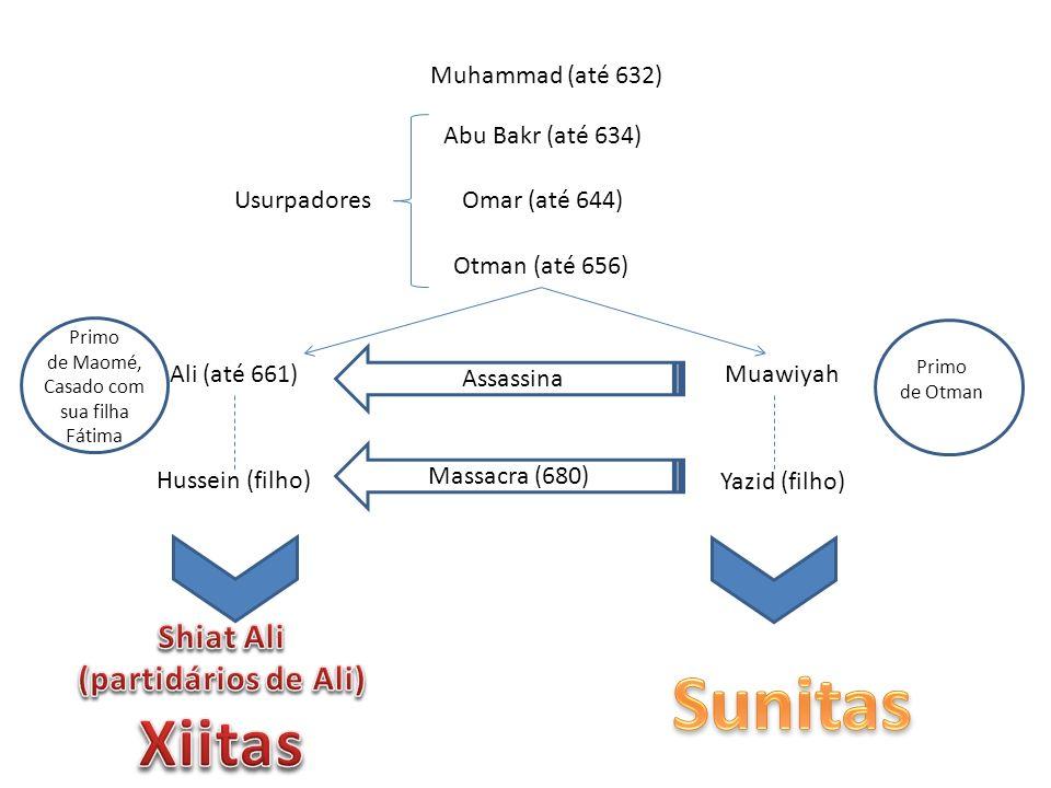 Muhammad (até 632) Abu Bakr (até 634) Omar (até 644) Otman (até 656) Usurpadores Ali (até 661)Muawiyah Primo de Maomé, Casado com sua filha Fátima Primo de Otman Hussein (filho) Yazid (filho) Massacra (680) Assassina