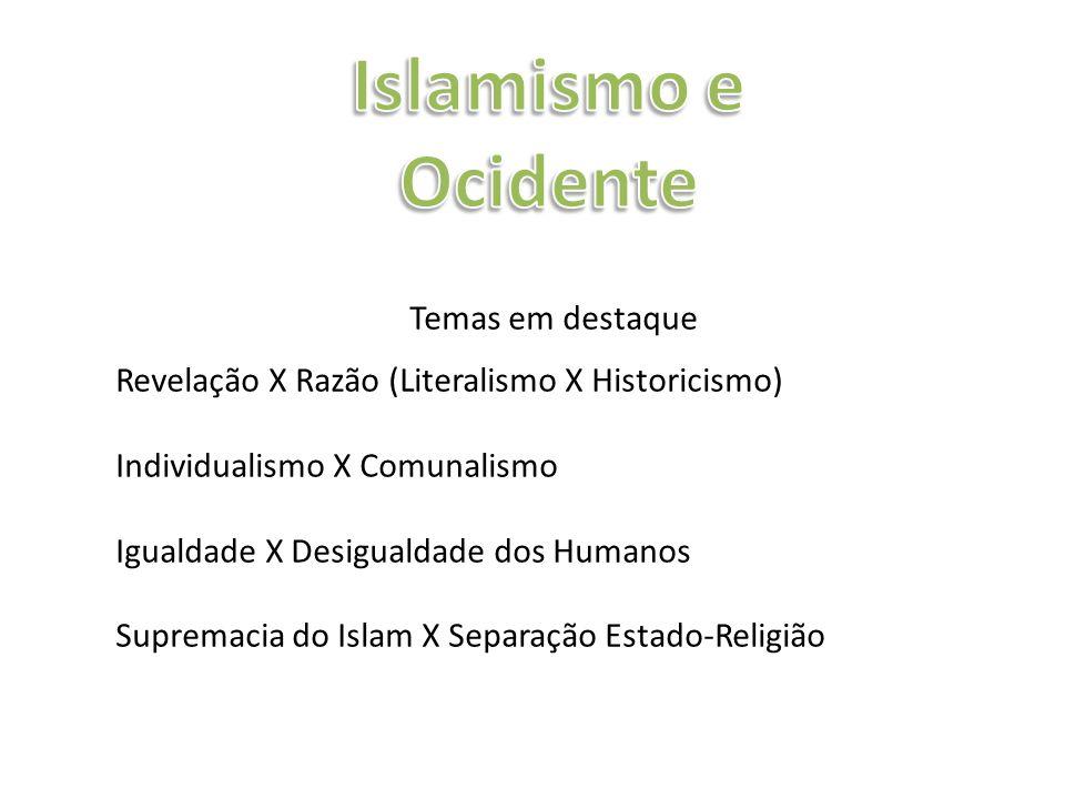 Temas em destaque Revelação X Razão (Literalismo X Historicismo) Individualismo X Comunalismo Igualdade X Desigualdade dos Humanos Supremacia do Islam X Separação Estado-Religião