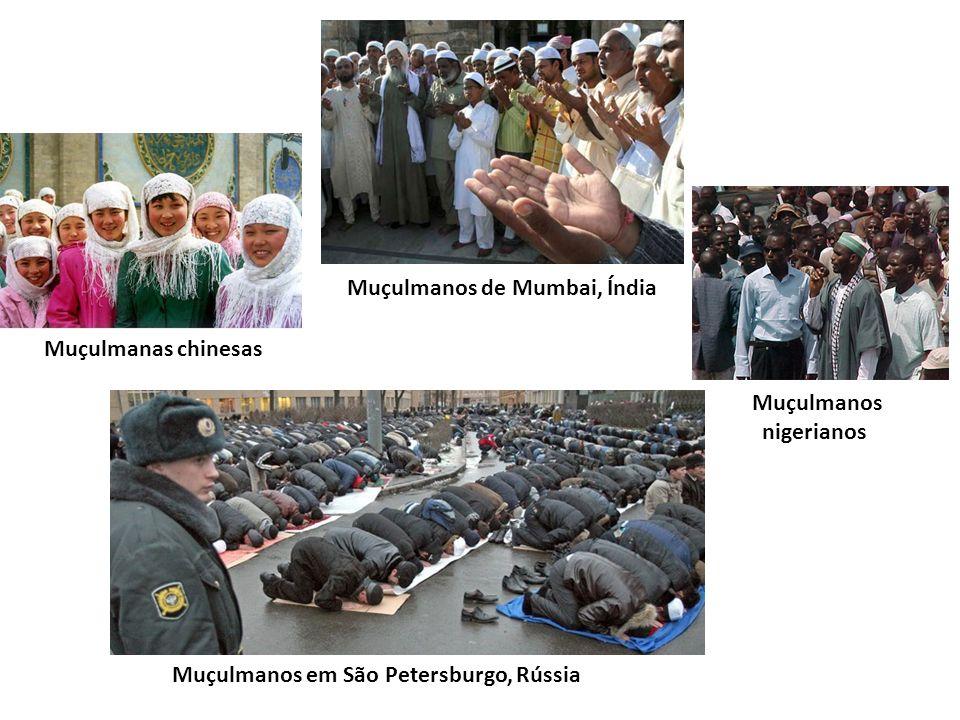 Muçulmanas chinesas Muçulmanos de Mumbai, Índia Muçulmanos nigerianos Muçulmanos em São Petersburgo, Rússia