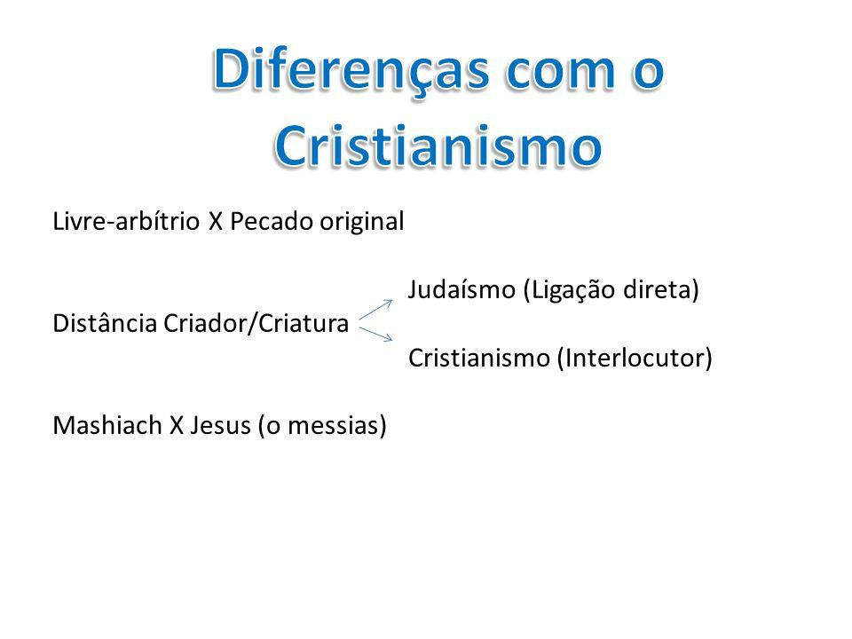 Livre-arbítrio X Pecado original Judaísmo (Ligação direta) Distância Criador/Criatura Cristianismo (Interlocutor) Mashiach X Jesus (o messias)