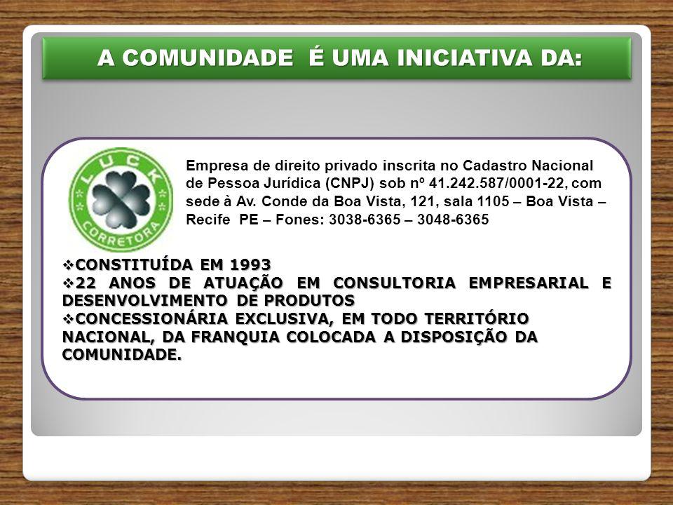 A COMUNIDADE É UMA INICIATIVA DA: A COMUNIDADE É UMA INICIATIVA DA:  CONSTITUÍDA EM 1993  22 ANOS DE ATUAÇÃO EM CONSULTORIA EMPRESARIAL E DESENVOLVIMENTO DE PRODUTOS  CONCESSIONÁRIA EXCLUSIVA, EM TODO TERRITÓRIO NACIONAL, DA FRANQUIA COLOCADA A DISPOSIÇÃO DA COMUNIDADE.