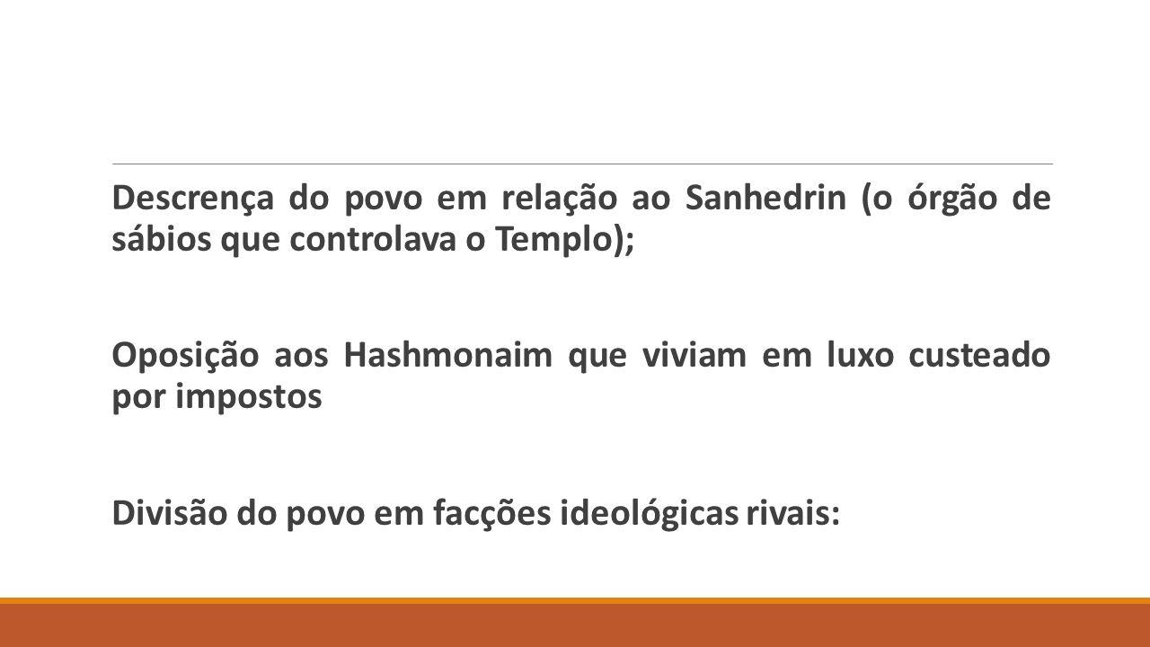 Descrença do povo em relação ao Sanhedrin (o órgão de sábios que controlava o Templo); Oposição aos Hashmonaim que viviam em luxo custeado por impostos Divisão do povo em facções ideológicas rivais: