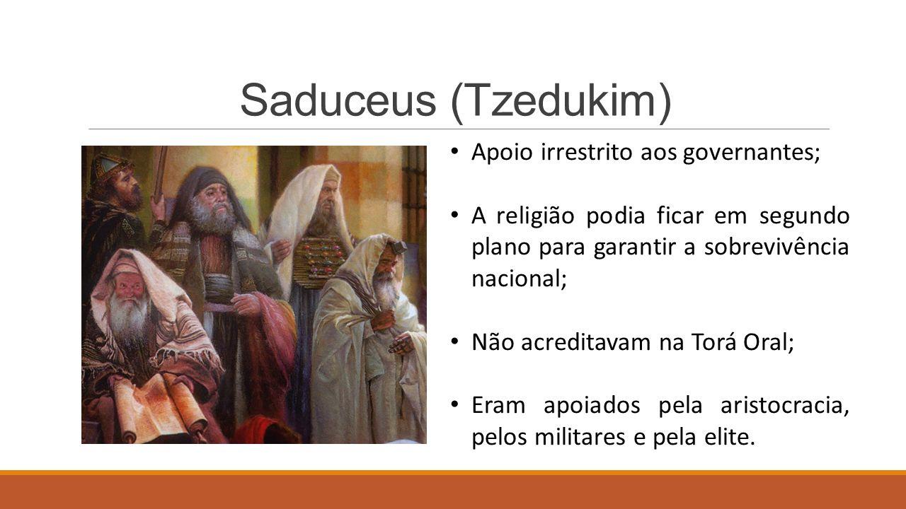 Saduceus (Tzedukim) Apoio irrestrito aos governantes; A religião podia ficar em segundo plano para garantir a sobrevivência nacional; Não acreditavam na Torá Oral; Eram apoiados pela aristocracia, pelos militares e pela elite.