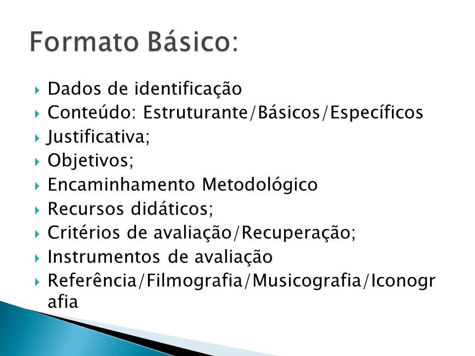  Dados de identificação  Conteúdo: Estruturante/Básicos/Específicos  Justificativa;  Objetivos;  Encaminhamento Metodológico  Recursos didáticos;  Critérios de avaliação/Recuperação;  Instrumentos de avaliação  Referência/Filmografia/Musicografia/Iconogr afia