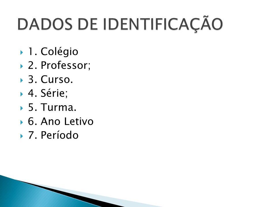  1. Colégio  2. Professor;  3. Curso.  4. Série;  5. Turma.  6. Ano Letivo  7. Período