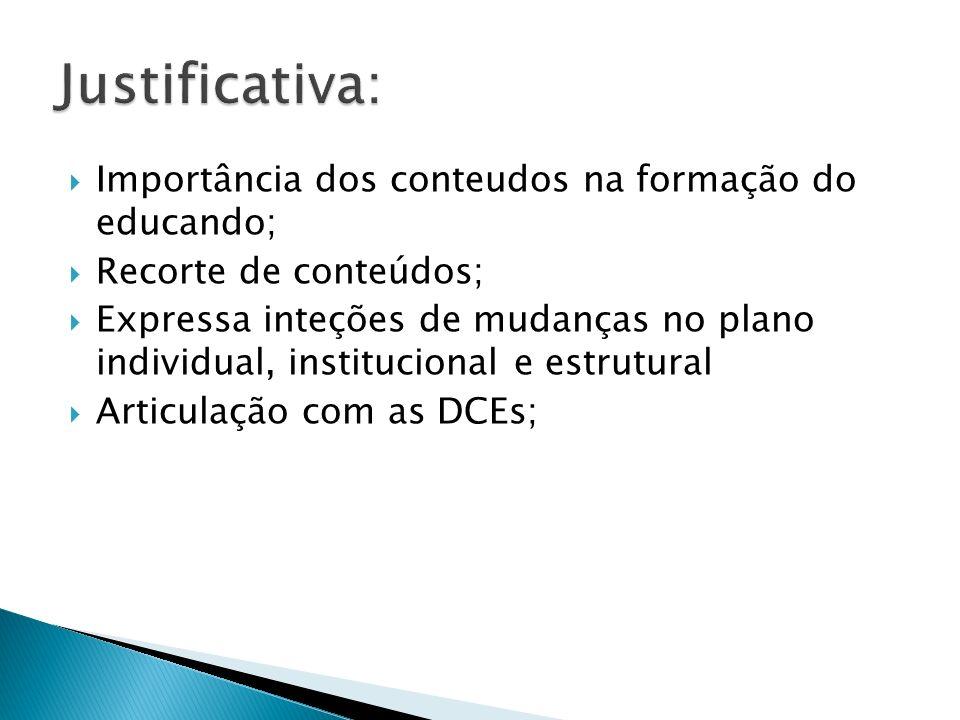  Importância dos conteudos na formação do educando;  Recorte de conteúdos;  Expressa inteções de mudanças no plano individual, institucional e estrutural  Articulação com as DCEs;