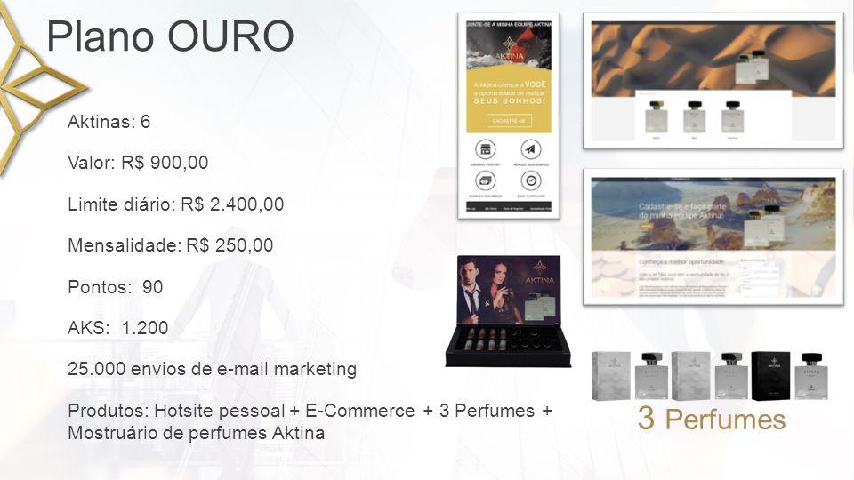 Plano ESMERALDA Pontos: 195 Valor: R$ 1.950,00 Limite diário: R$ 4.500,00 50.000 envios de e-mail marketing AKS: 1.650 Mensalidade: R$ 350,00 Aktinas: 13 Produtos: Hotsite pessoal + E-Commerce + 10 Perfumes + Mostruário de perfumes Aktina 10 Perfumes