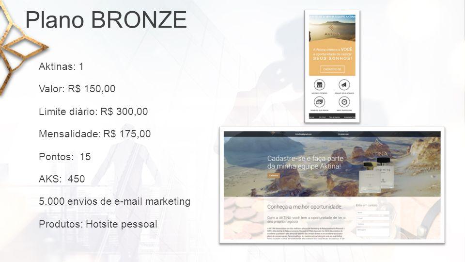 Plano PRATA Pontos: 45 Valor: R$ 450,00 Limite diário: R$ 750,00 12.500 envios de e-mail marketing AKS: 600 Mensalidade: R$ 200,00 Aktinas: 3 Produtos: Hotsite pessoal + E-Commerce + Mostruário de perfumes Aktina