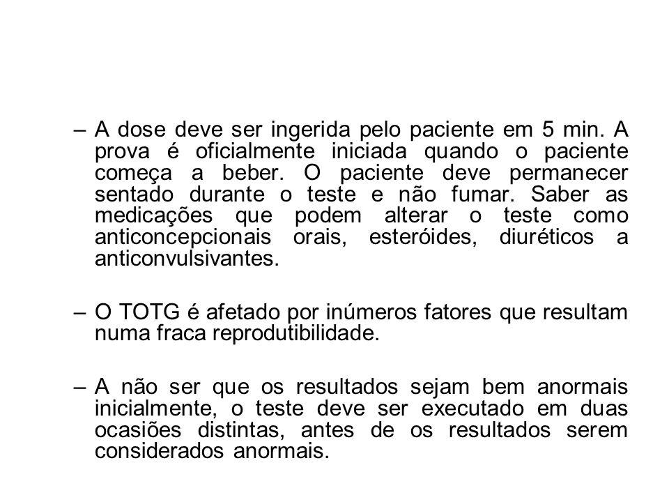 –A dose deve ser ingerida pelo paciente em 5 min. A prova é oficialmente iniciada quando o paciente começa a beber. O paciente deve permanecer sentado