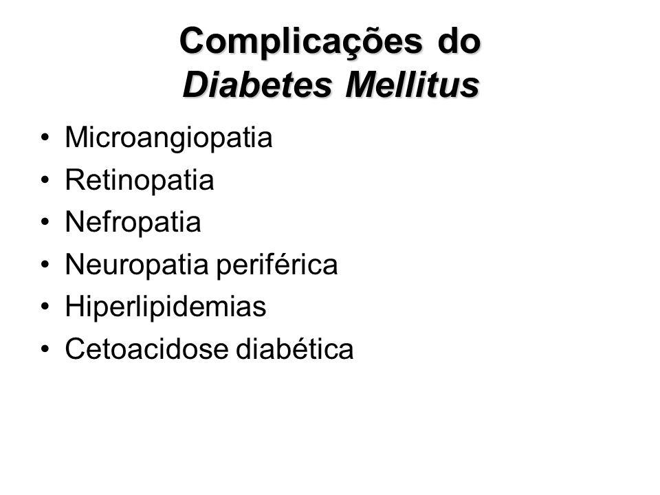 Complicações do Diabetes Mellitus Microangiopatia Retinopatia Nefropatia Neuropatia periférica Hiperlipidemias Cetoacidose diabética