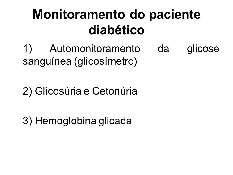 Monitoramento do paciente diabético 1) Automonitoramento da glicose sanguínea (glicosímetro) 2) Glicosúria e Cetonúria 3) Hemoglobina glicada