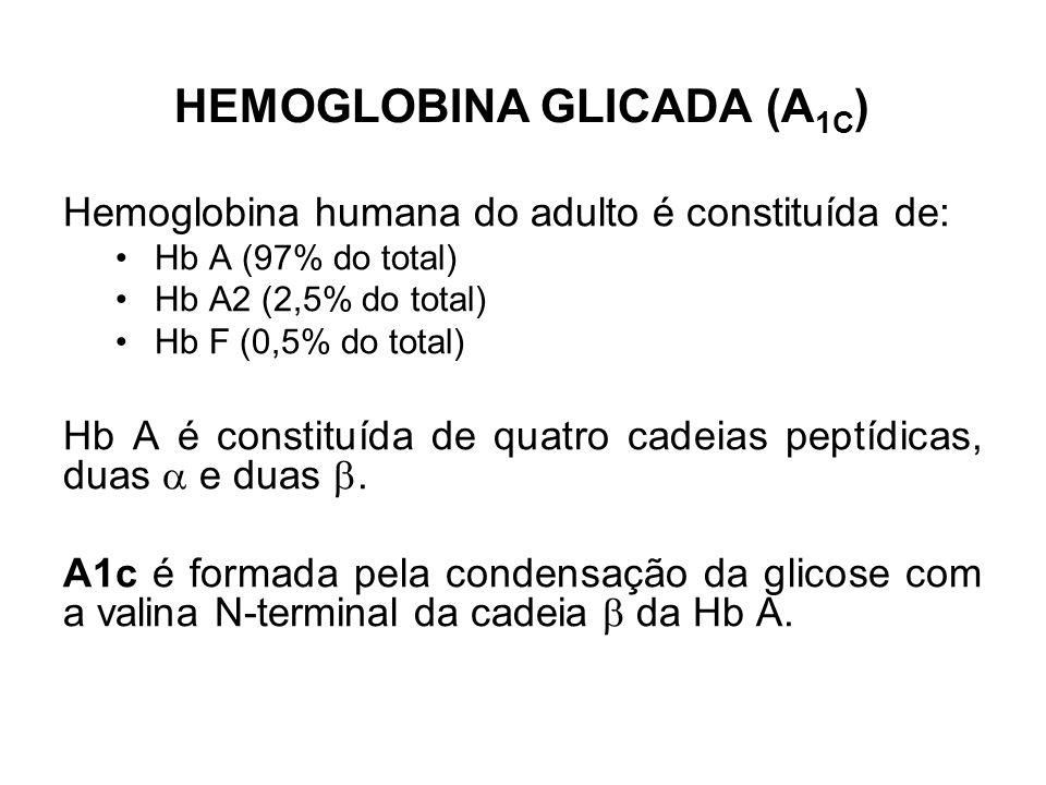 HEMOGLOBINA GLICADA (A 1C ) Hemoglobina humana do adulto é constituída de: Hb A (97% do total) Hb A2 (2,5% do total) Hb F (0,5% do total) Hb A é const