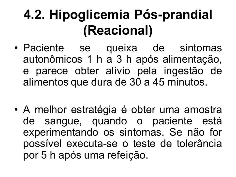 4.2. Hipoglicemia Pós-prandial (Reacional) Paciente se queixa de sintomas autonômicos 1 h a 3 h após alimentação, e parece obter alívio pela ingestão
